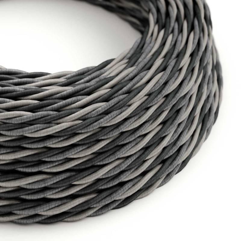 Ronde flexibele textielkabel van viscose met schakelaar en stekker. RZ08 - zigzag wit/fuchsia 1,80 m.