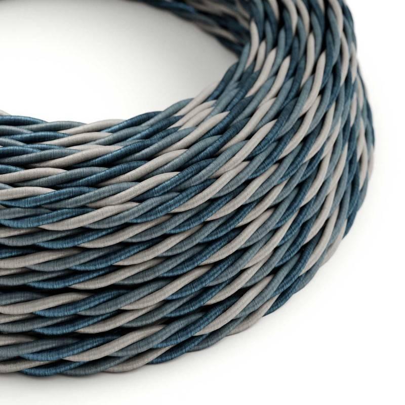 Ronde flexibele textielkabel van viscose met schakelaar en stekker.RZ09 - zigzag wit/rood 1,80 m.