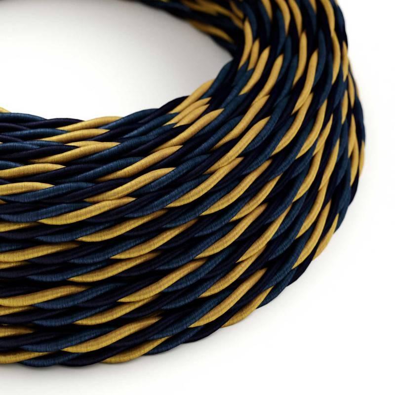 Ronde flexibele textielkabel van viscose met schakelaar en stekker. TRZ10 - zigzag wit/geel 1,80 m.