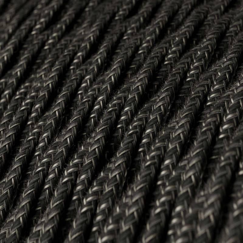 Ronde flexibele textielkabel van viscose met schakelaar en stekker.RL13 - lame (glinsterend) bruin 1,80 m.