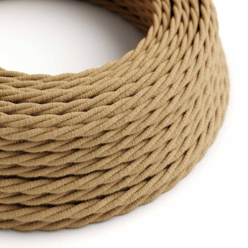 Ronde flexibele textielkabel van linnen met schakelaar en stekker. RN03 - natuurlijk antraciet linnen 1,80 m.