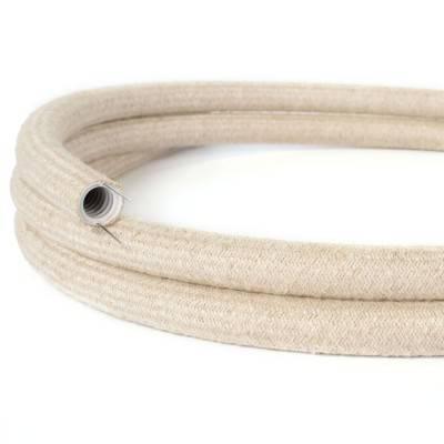 Natuur design flexibele elektrabuis met stof omweven - Creative-Tube natuurlijk linnen RN01 20 mm