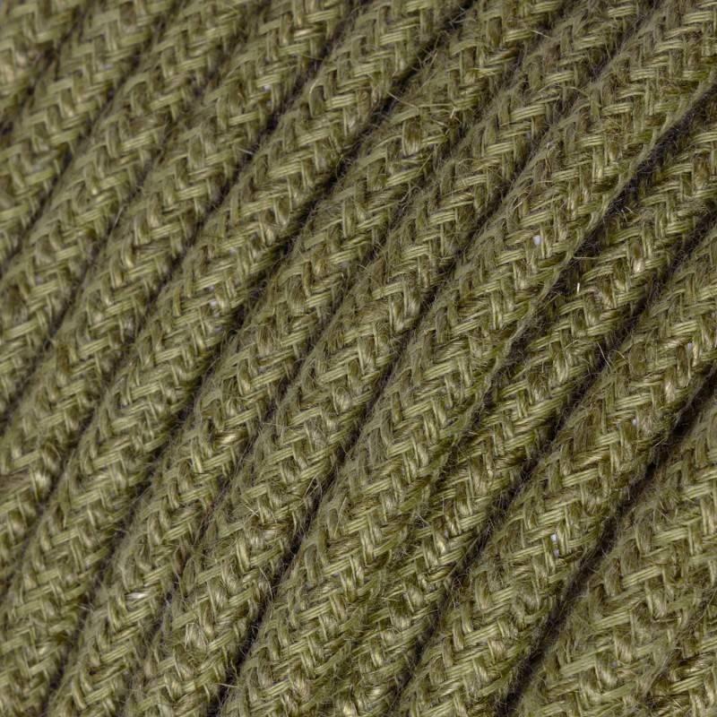 Ronde flexibele textielkabel van katoen met schakelaar en stekker. RS81 - onyx tweed zwart. linnen and glitter 1,80 m.