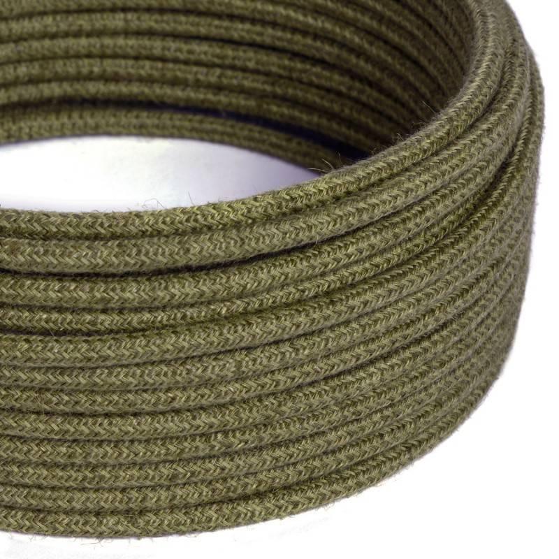 Gevlochten flexibele textielkabel van linnen met schakelaar en stekker. TN01 - neutraal natuurlijk linnen 1,80 m.
