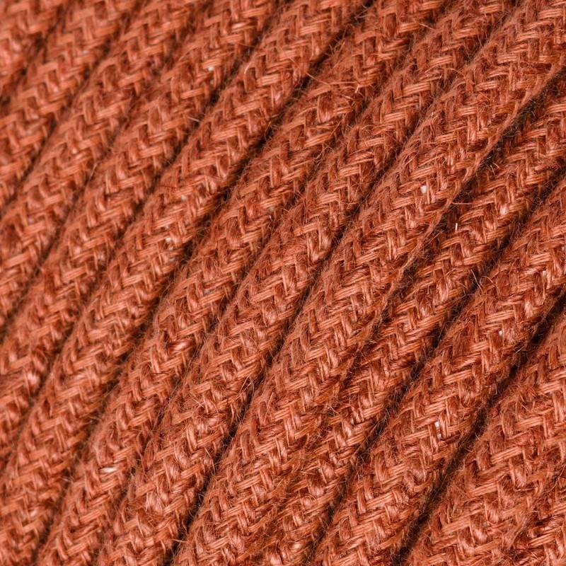 Strijkijzersnoer set RD71 oud roze zigzag katoen en natuurlijk linnen 3 m. voor staande lamp met stekker en voetschakelaar.