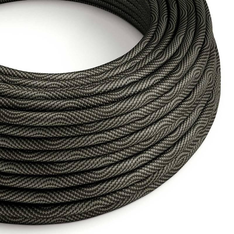 Gevlochten flexibele textielkabel van katoen met schakelaar en stekker. TC63 - groengrijs 1,80 m.
