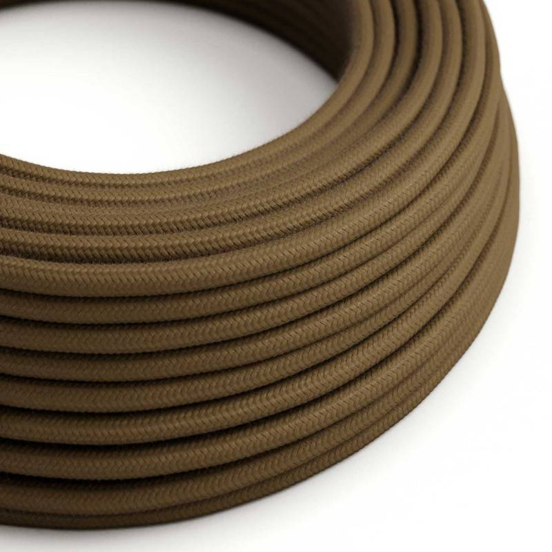 Ronde flexibele textielkabel van katoen met schakelaar en stekker. RC13 - bruin 1,80 m.