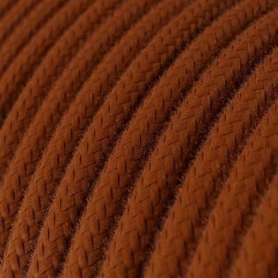 Ronde flexibele textielkabel van katoen met schakelaar en stekker. RC23 - hert bruin 1,80 m.