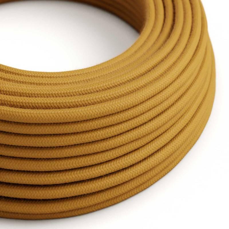 Ronde flexibele textielkabel van katoen met schakelaar en stekker. RC43 - ecru 1,80 m.