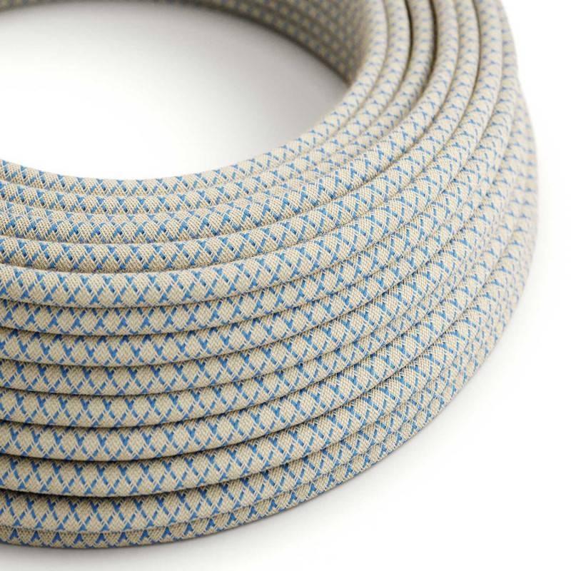 Gevlochten flexibele textielkabel van katoen met schakelaar en stekker. TC43 - ecru 1,80 m.