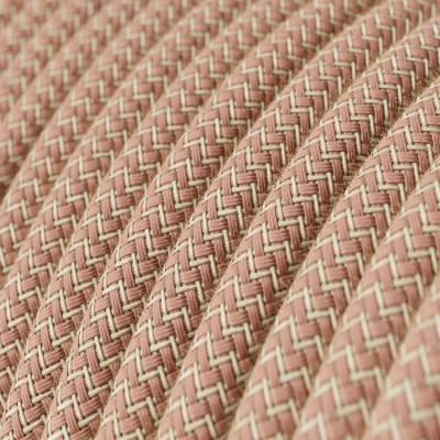 Gevlochten flexibele textielkabel van katoen met schakelaar en stekker. TC53 - oceaan blauw 1,80 m.