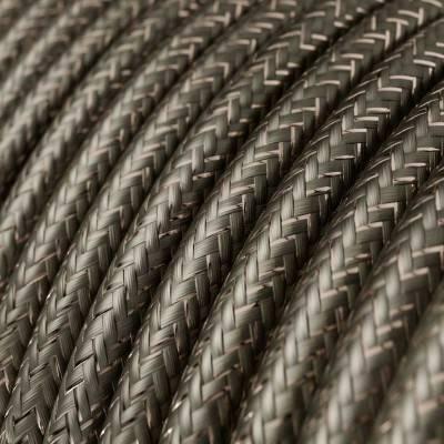 Ronde flexibele glinsterende textielkabel van viscose met schakelaar en stekker. RL05 - goud 1.80 m.