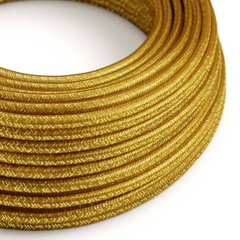 Strijkijzersnoer set RL05 goud viscose 3 m. voor staande lamp met stekker en voetschakelaar.