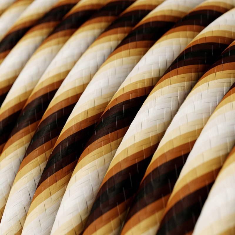 Metalen strijkijzersnoer verlichtingspendel E27 bruin katoen RC13