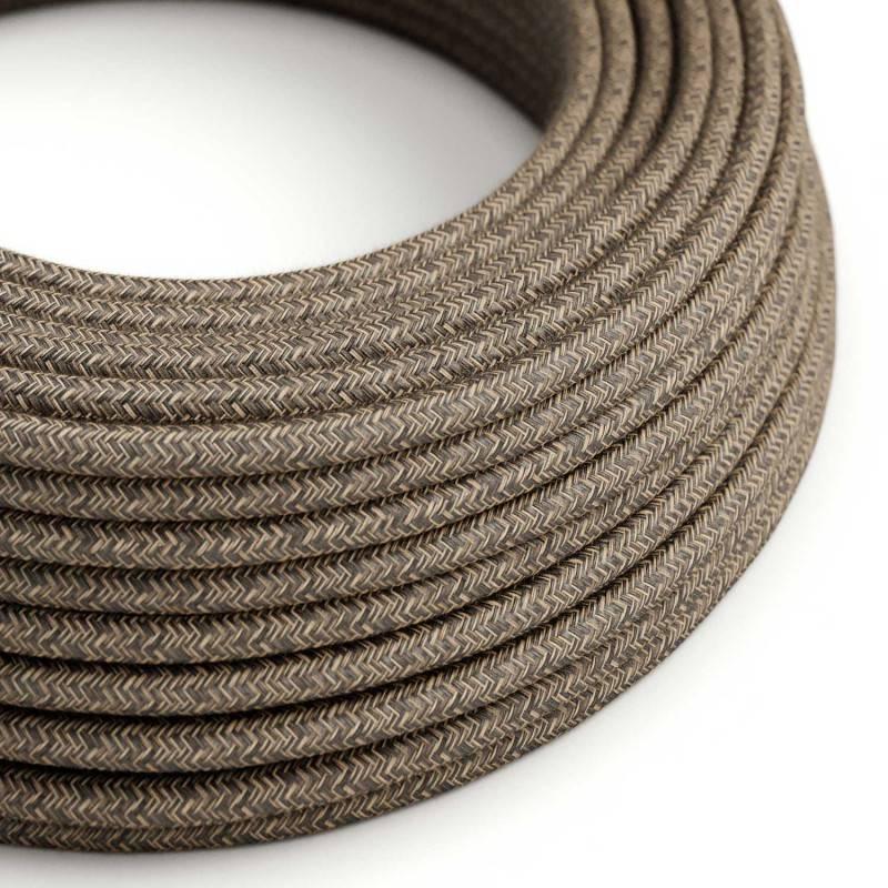 Metalen strijkijzersnoer verlichtingspendel E27 zigzag motief antraciet linnen en katoen RD74