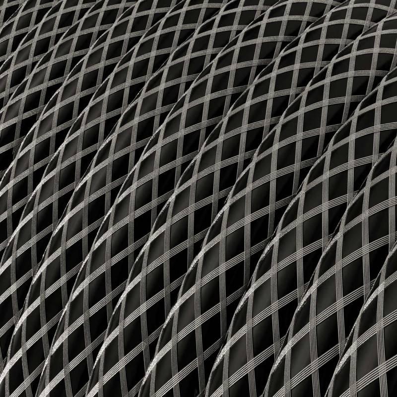 Metalen strijkijzersnoer verlichtingspendel E27 diamant motief antraciet linnen en katoen RD64