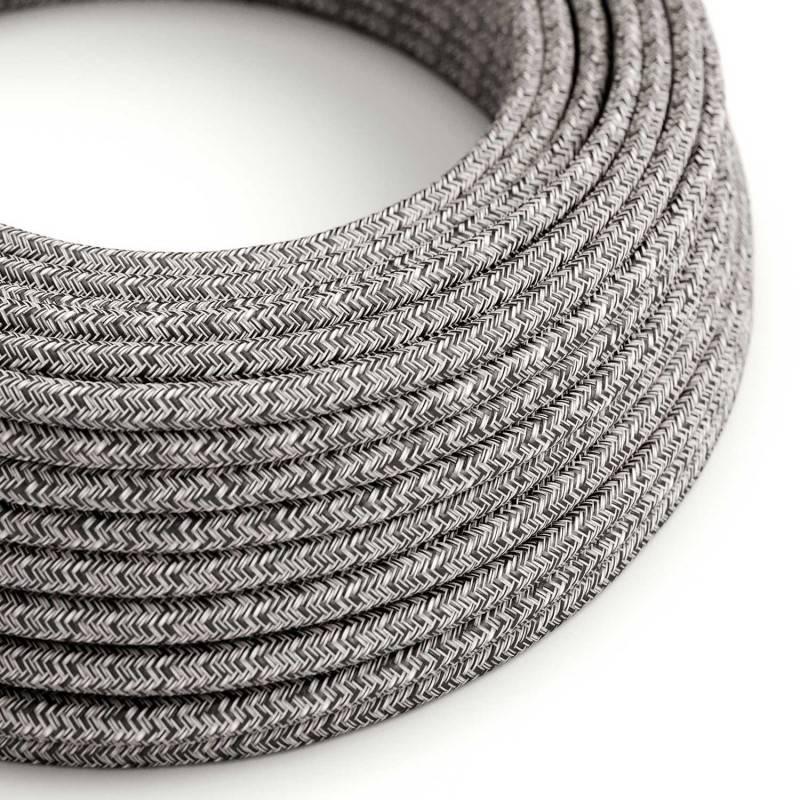 Metalen strijkijzersnoer verlichtingspendel E27 strepen motief antraciet linnen en katoen RD54