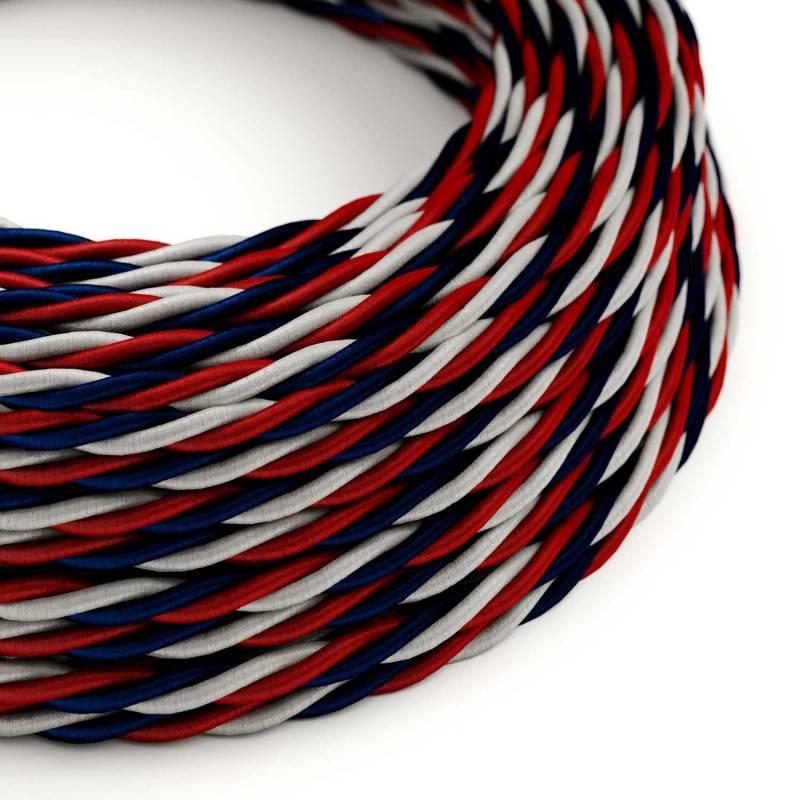 Metalen strijkijzersnoer verlichtingspendel E27 rood/wit viscose RP09