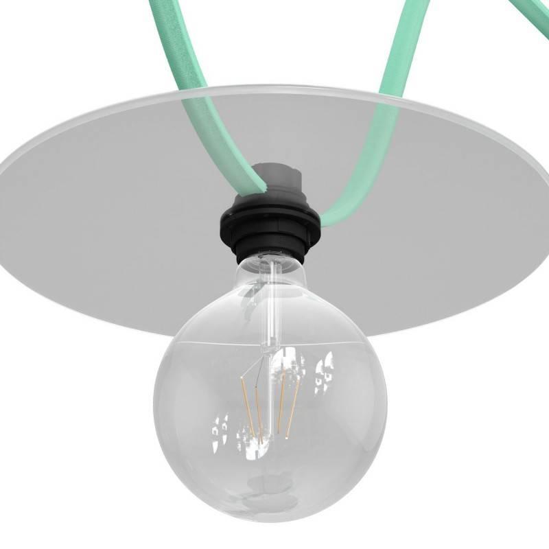 Metalen strijkijzersnoer verlichtingspendel E27 wit glinsterend viscose RL01