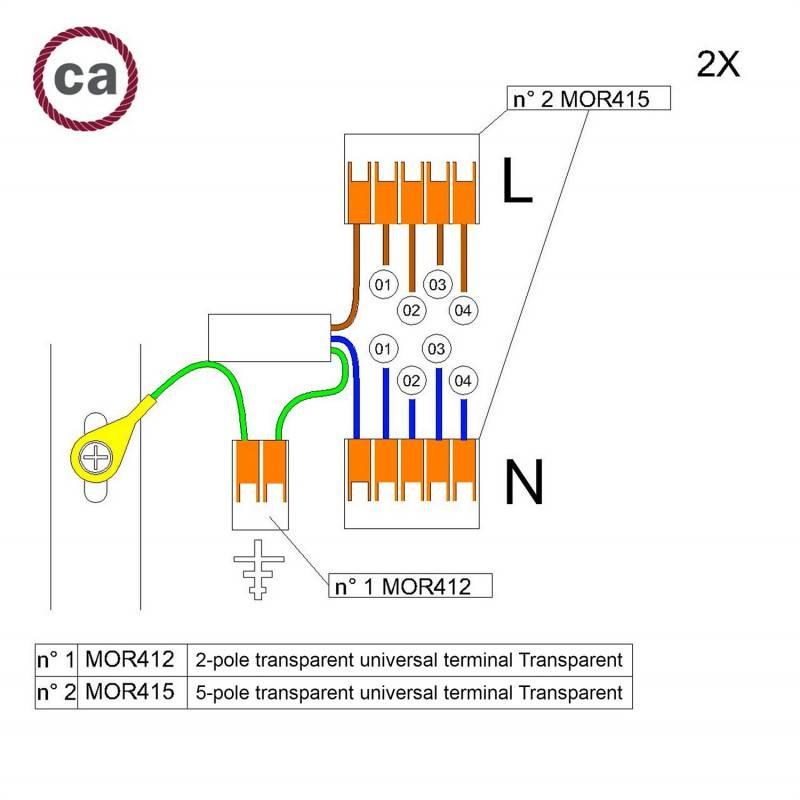 Metalen strijkijzersnoer verlichtingspendel E27 gevlochten whiskey viscose TM22