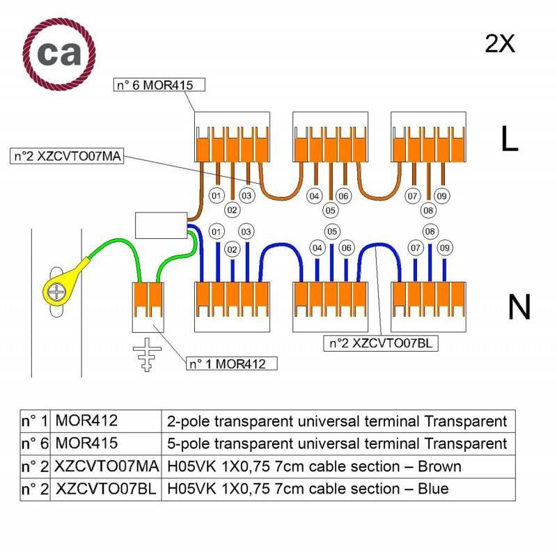 Metalen strijkijzersnoer verlichtingspendel E27 gevlochten hert bruin katoen TC23