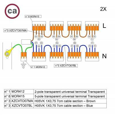WAGO verbindingskit compatibel met 2x kabel voor 12-gaats Aansluitkap
