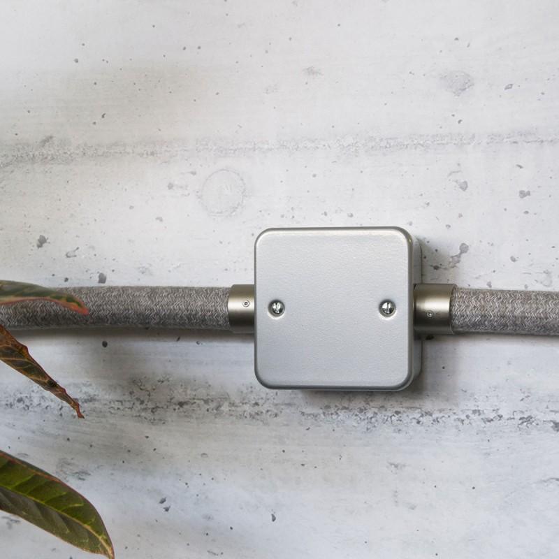 Metalen strijkijzersnoer verlichtingspendel E27 gevlochten blauw viscose TM12
