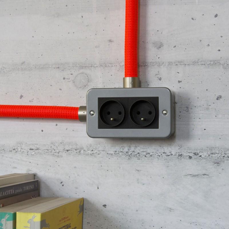 Metalen strijkijzersnoer verlichtingspendel E27 gevlochten hemelsblauw viscose TM11