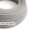 Lang overbrugging-snoer 3 x 1.50 rond - bekleed met natuurlijk linnen grijs RN02