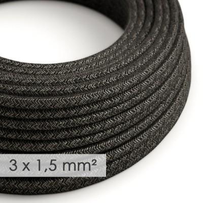 Lang overbrugging-snoer 3 x 1.50 rond - bekleed met natuurlijk linnen antraciet RN03