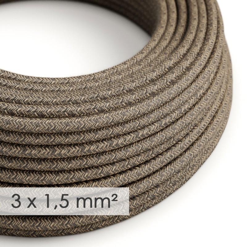 Lang overbrugging-snoer 3 x 1.50 rond - bekleed met natuurlijk linnen bruin RN04