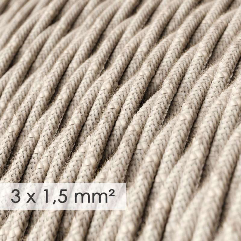 Lang overbrugging-snoer 3 x 1.50 gevlochten - bekleed met natuurlijk linnen neutraal TN01