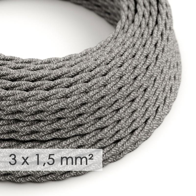 Lang overbrugging-snoer 3 x 1.50 gevlochten - bekleed met natuurlijk linnen grijs TN02