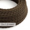 Lang overbrugging-snoer 3 x 1.50 gevlochten - bekleed met natuurlijk linnen bruin TN04