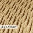 Lang overbrugging-snoer 3 x 1.50 gevlochten - bekleed met jute TN06