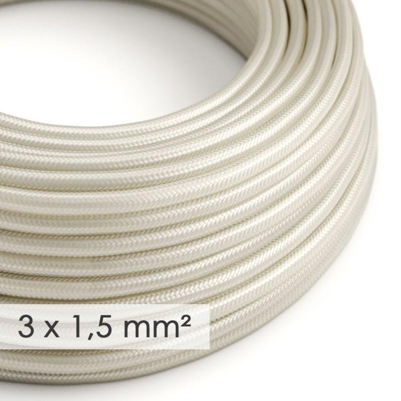Lang overbrugging-snoer 3 x 1.50 rond - bekleed met viscose ivoor RM00