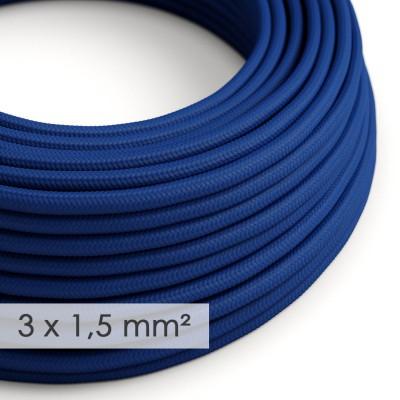 Lang overbrugging-snoer 3 x 1.50 rond - bekleed met blauwe viscose RM12