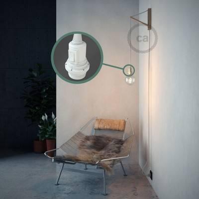 """""""Snake"""" hanglamp met extra lang strijkijzersnoer wit katoen RC01"""