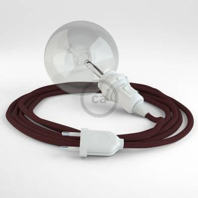 """""""Snake"""" hanglamp met extra lang strijkijzersnoer donkerrood viscose RM19"""