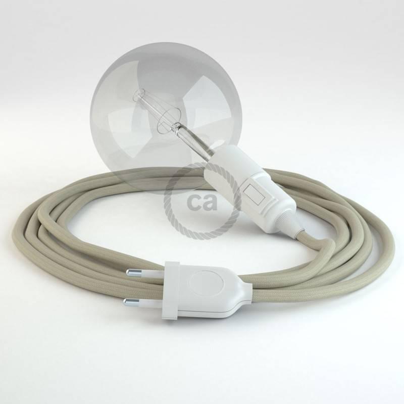 """""""Snake"""" snoerlamp met extra lang strijkijzersnoer ecru katoen RC43"""