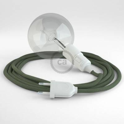 """""""Snake"""" snoerlamp met extra lang strijkijzersnoer groengrijs katoen RC63"""