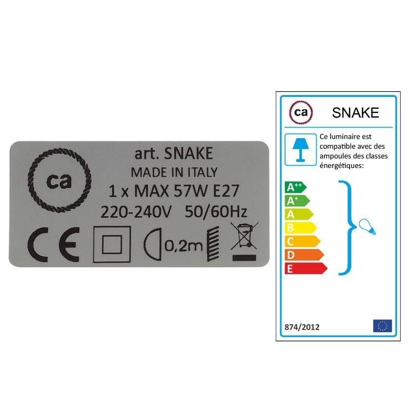 """""""Snake"""" snoerlamp met extra lang strijkijzersnoer strepen motief roze linnen en katoen RD51"""