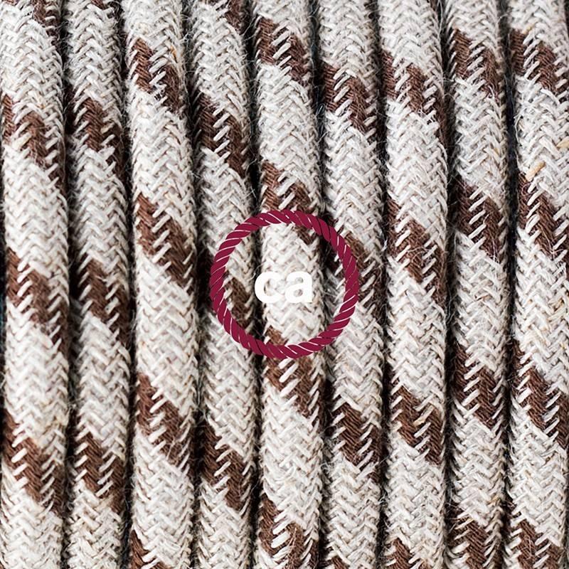 """""""Snake"""" snoerlamp met extra lang strijkijzersnoer strepen motief bruin linnen en katoen RD53"""