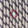 """""""Snake"""" snoerlamp met extra lang strijkijzersnoer strepen motief antraciet linnen en katoen RD54"""