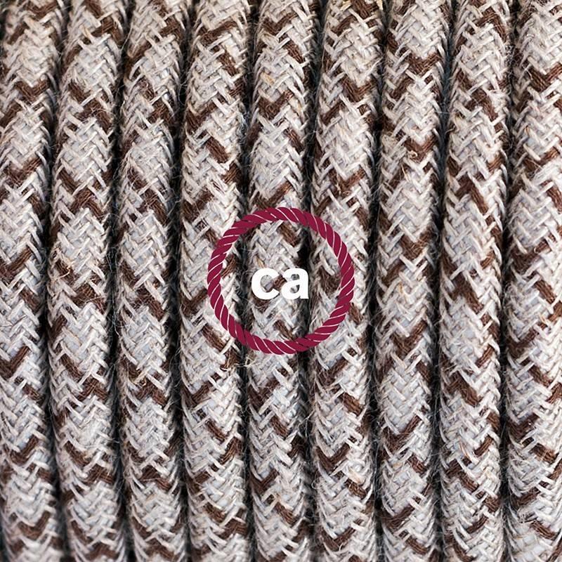 """""""Snake"""" snoerlamp met extra lang strijkijzersnoer diamant motief bruin linnen en katoen RD63"""
