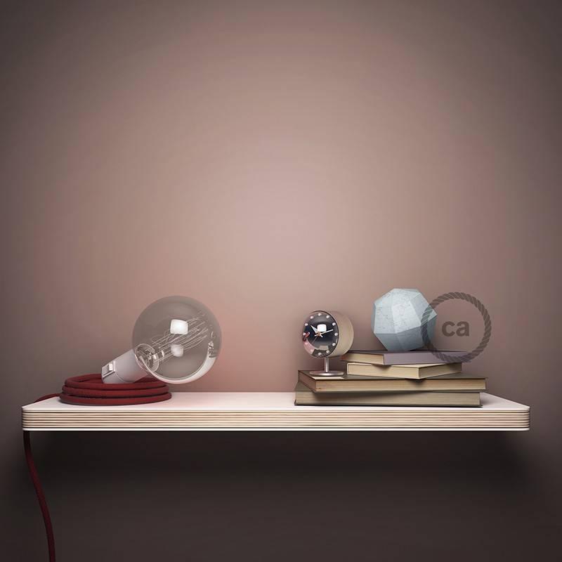 """""""Snake"""" snoerlamp met extra lang strijkijzersnoer zigzag motief roze linnen en katoen RD71"""