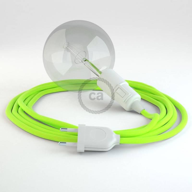 """""""Snake"""" snoerlamp met extra lang strijkijzersnoer fluo geel viscose RF10"""