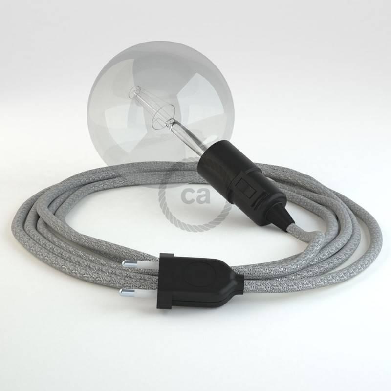 """""""Snake"""" snoerlamp met extra lang strijkijzersnoer zilver glinsterend viscose RL02"""