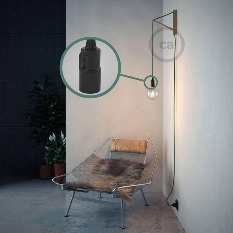 """""""Snake"""" snoerlamp met extra lang strijkijzersnoer groen viscose RM06"""