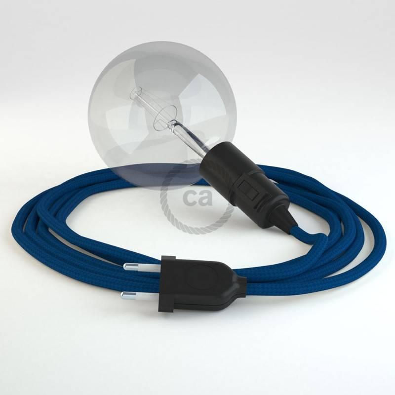 """""""Snake"""" snoerlamp met extra lang strijkijzersnoer blauw viscose RM12"""